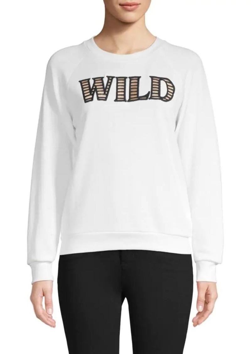 Wildfox Graphic Cutout Cotton-Blend Sweatshirt