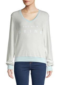 Wildfox Graphic V-Neck Sweatshirt