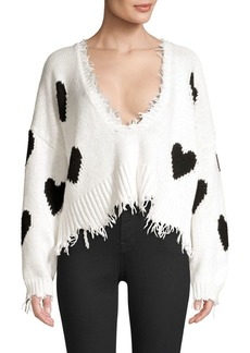 Wildfox Hearts Palmetto Frayed Trim V-Neck Sweater