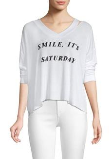 Wildfox It's Saturday Haley V-Neck Sweatshirt