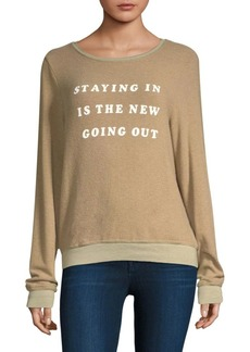 Wildfox Let's Stay In Graphic Pullover