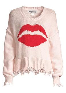Wildfox Luna Lip Frayed-Hem Cotton Sweater