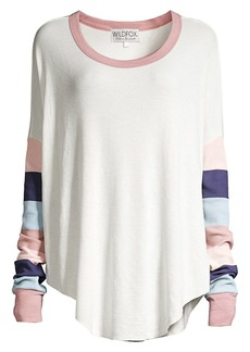 Wildfox Perry Banded-Sleeve Thermal Sweater