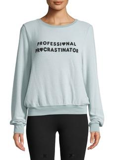 Wildfox Procrastinator Baby-Terry Slogan Sweatshirt