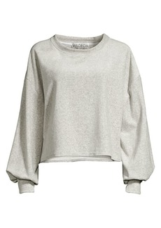 Wildfox Puff-Sleeve Velour Sweatshirt