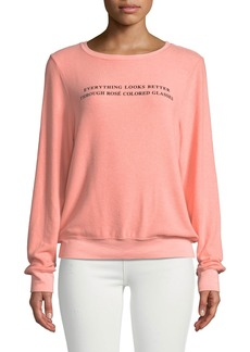 Wildfox Rose Glasses Graphic Crewneck Sweatshirt