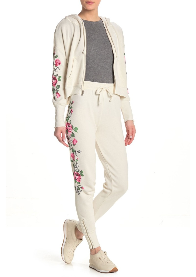 Wildfox Rosy Stems Printed Drawstring Sweatpants
