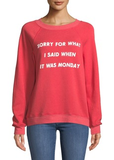 Wildfox Sorry For Monday Graphic Pullover Sweater