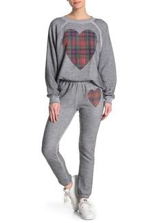 Wildfox Tartan Heart Heathered Knit Pants