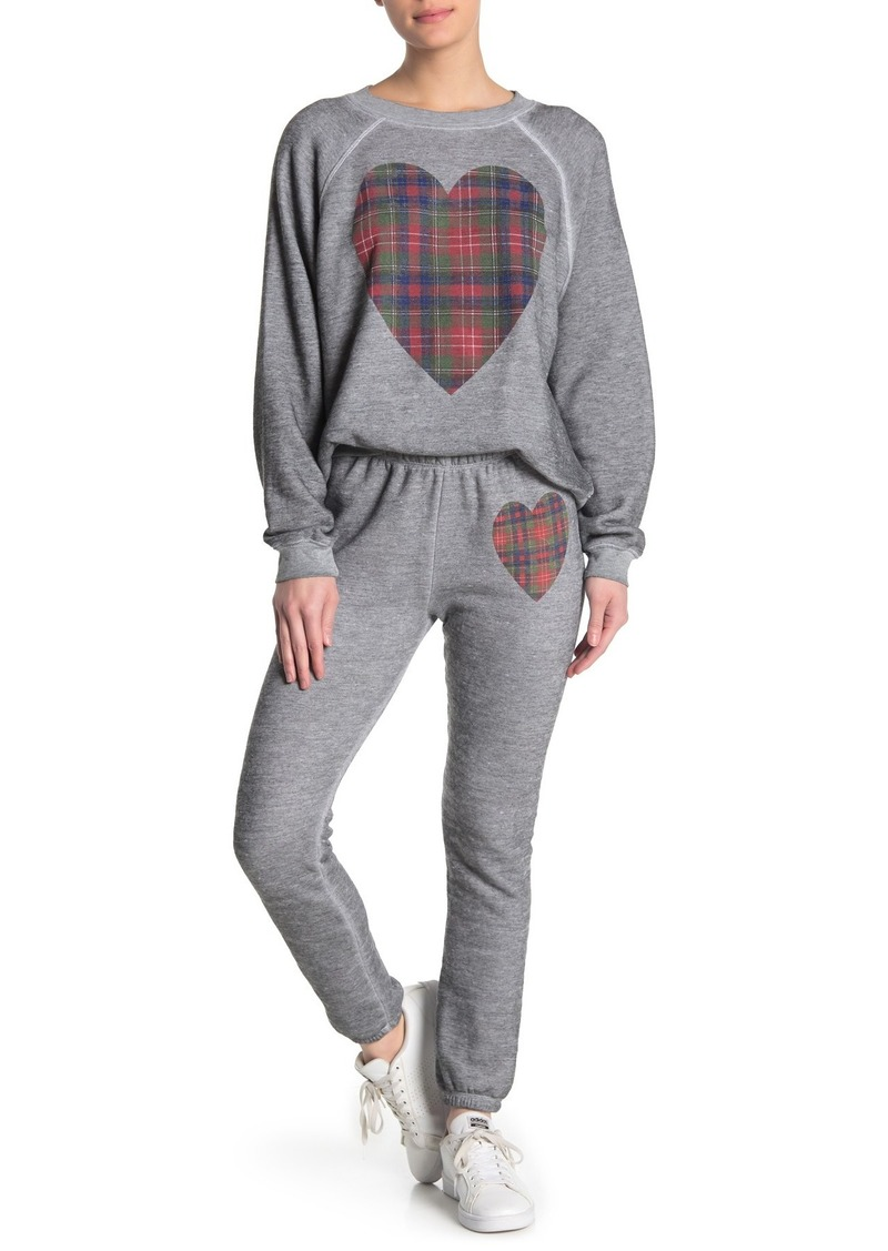 Wildfox Tartan Heart Heathered Knit Pants