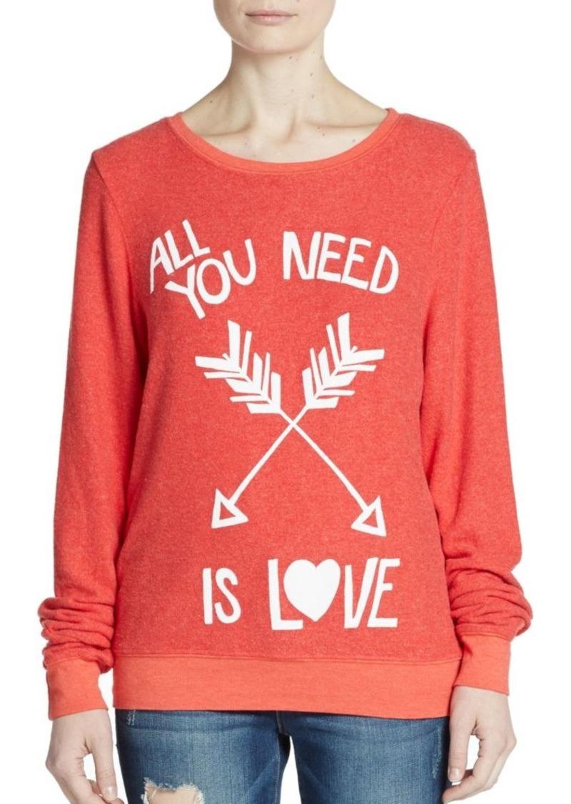 Wildfox All You Need Is Love Graphic Sweatshirt