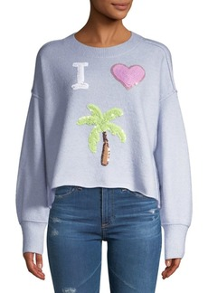 Wildfox Cherie I Love Palm Tree Sequin Sweater