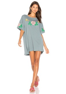 Wildfox Couture Indigo Rose Embroidered T-Shirt Dress in Slate. - size L (also in M,S,XS)