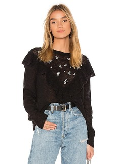 Wildfox Couture Ruffle Pullover Sweater in Black. - size L (also in M,S,XS)