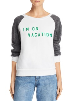 WILDFOX I'm On Vacation Color Block Sweatshirt
