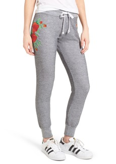 Wildfox Jack - Red Roses Embroidered Jogger Pants