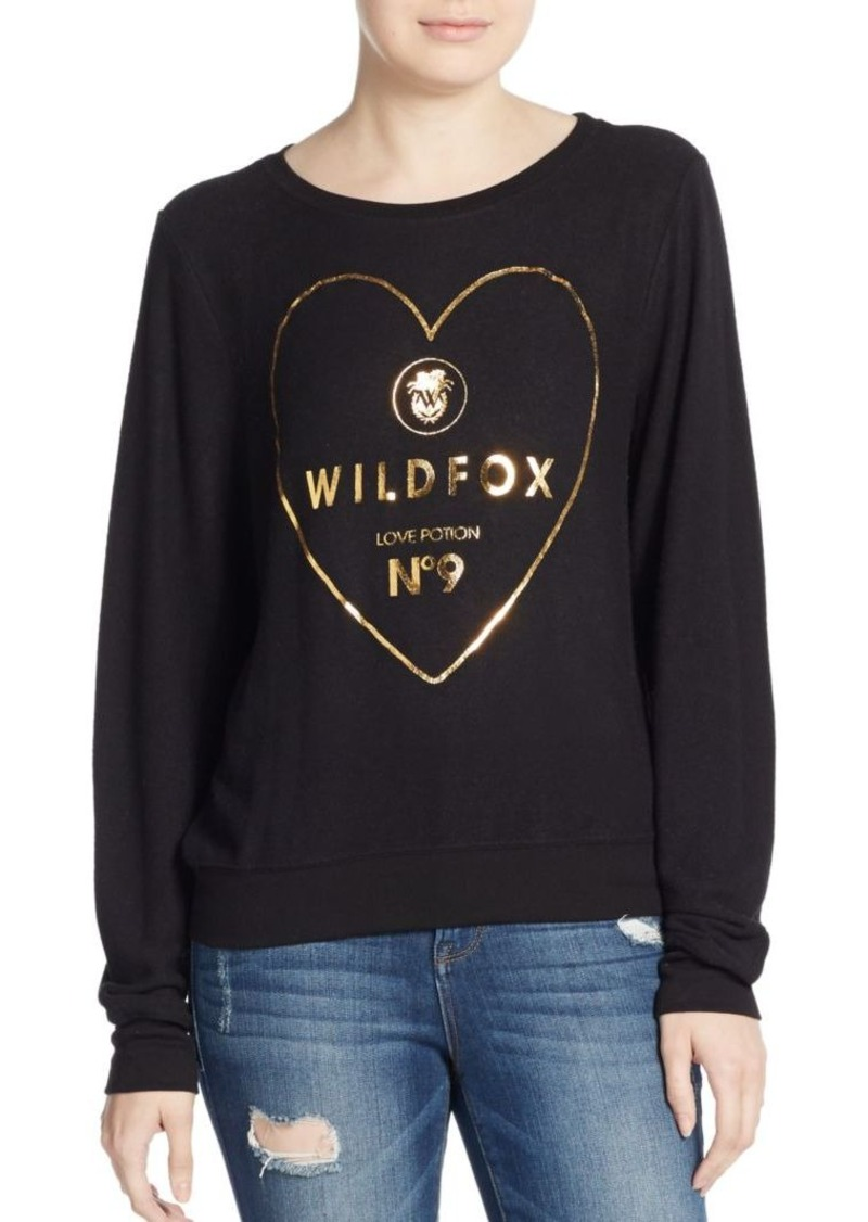 Wildfox Metallic Heart Logo Graphic Sweatshirt