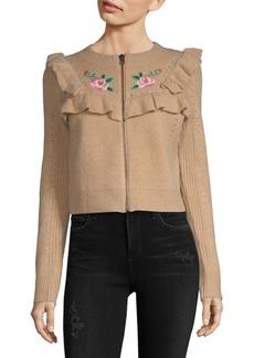 Wildfox Ruffle Embroidered Jacket