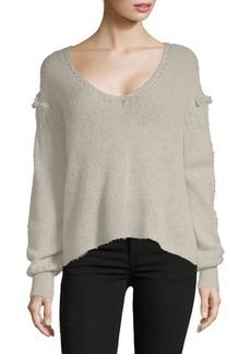 Wildfox Ruffled V-Neck Sweater