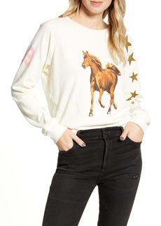 Wildfox Star Jockey Fiona Crewneck Cotton Sweatshirt