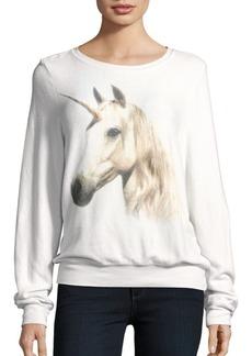 Wildfox Unicorn Print Boatneck Pullover