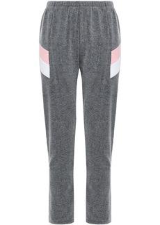 Wildfox Woman Striped Cotton-blend Fleece Track Pants Dark Gray