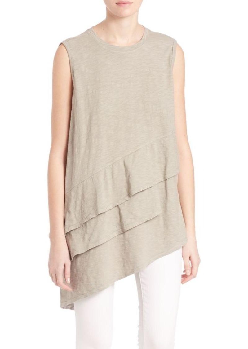 Wilt Asymmetrical Tiered Short Sleeve Tunic