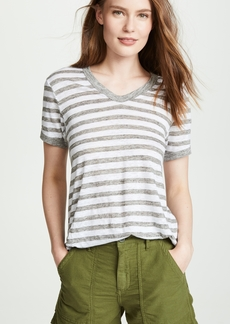 Wilt Linen Striped Ringer Tee