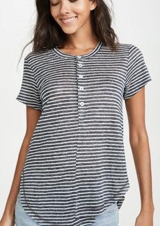 Wilt Stripe Linen Button Henley Tee
