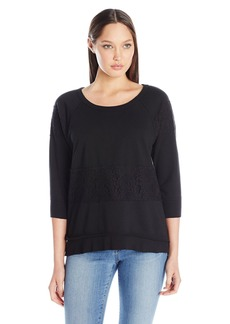 Wilt Women's Lace Mixed Raw Hem Sweatshirt