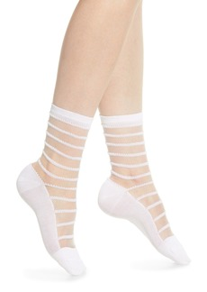 Wolford Isabella Sheer Stripe Crew Socks