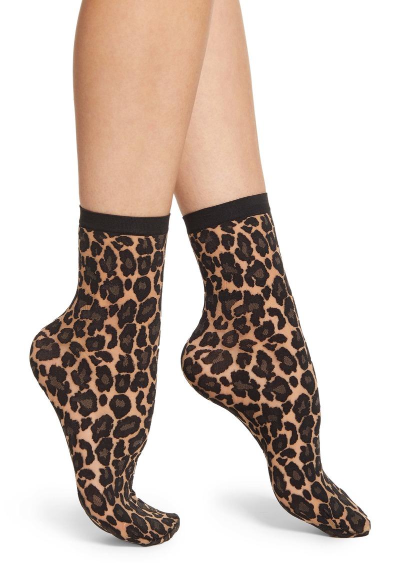 Wolford Leopard Print Crew Socks