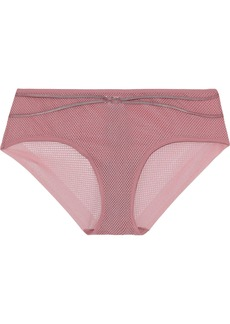 Wolford Woman Delilah Ring-embellished Stretch-mesh Mid-rise Briefs Antique Rose