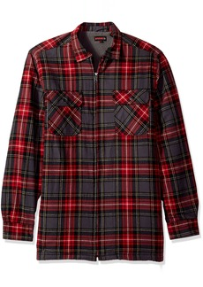 Wolverine Men's Big and Tall Marshall Full Zip Sherpa Lined Shirt Jacket red Plaid Large