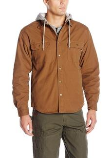 Wolverine Men's Overman Fleece Lined Cotton Duck Canvas Hooded Shirt Jacket