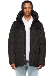 Woolrich Black Down Wool Patch Parka