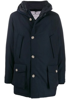 Woolrich button hooded coat