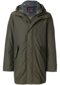 Woolrich camouflage layer hood coat