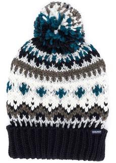 Woolrich fairisle pom-pom beanie hat