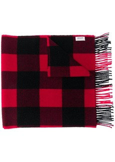 Woolrich knitted check scarf