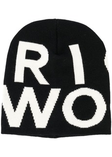 Woolrich logo pattern knitted hat