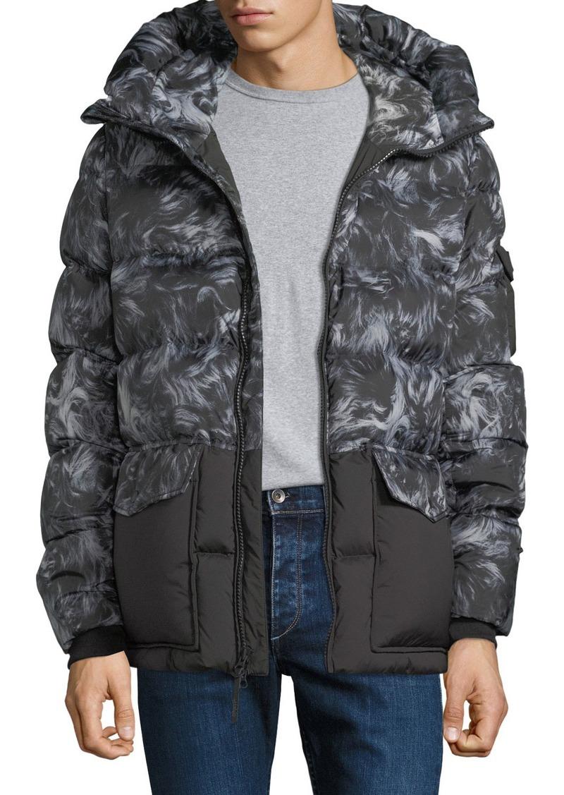 Woolrich Sierra Sheepskin-Pattern Quilted Puffer Coat