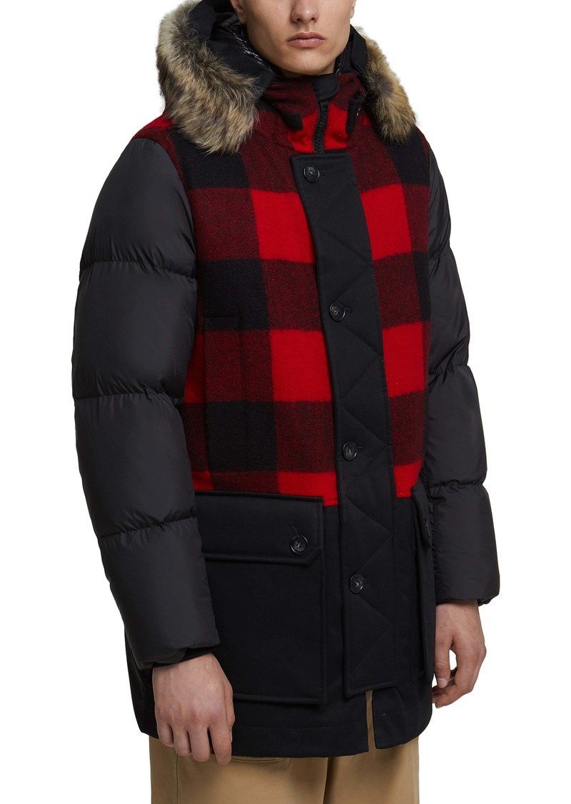 Woolrich Buffalo Check Hooded Down Parka with Genuine Shearling Trim