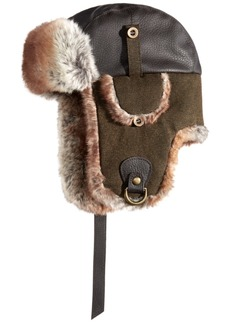 Woolrich Men's Faux-Leather & Canvas Trooper Hat, Created for Macy's