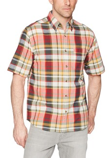 76bcad2462141e Woolrich Men's Timberline Short Sleeve Madras Plaid Shirt - 100% Organic  Cotton (Red)