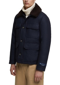 Woolrich Stag Down Wool Jacket with Genuine Shearling Trim