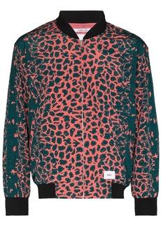 WTAPS leopard print zipped bomber jacket