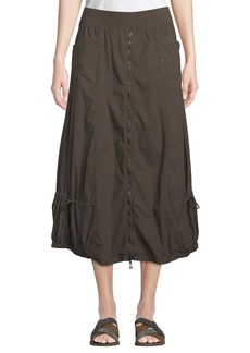 XCVI Blithe Zip-Front Poplin Midi Skirt