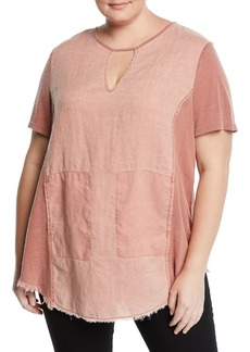 XCVI Caris Distressed Short-Sleeve Washed Top