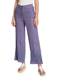 XCVI Chateau Linen Pants w/ Floral-Embroidered Hem